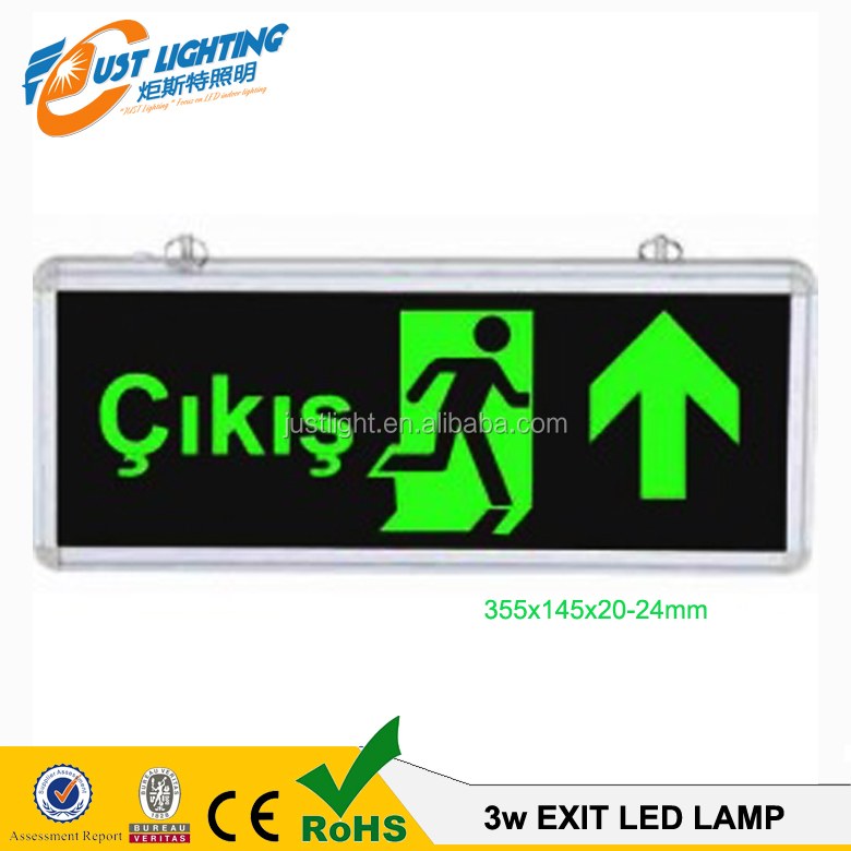 highest quality Aluminium+glass double sides led rechargeable emergency exit sign light