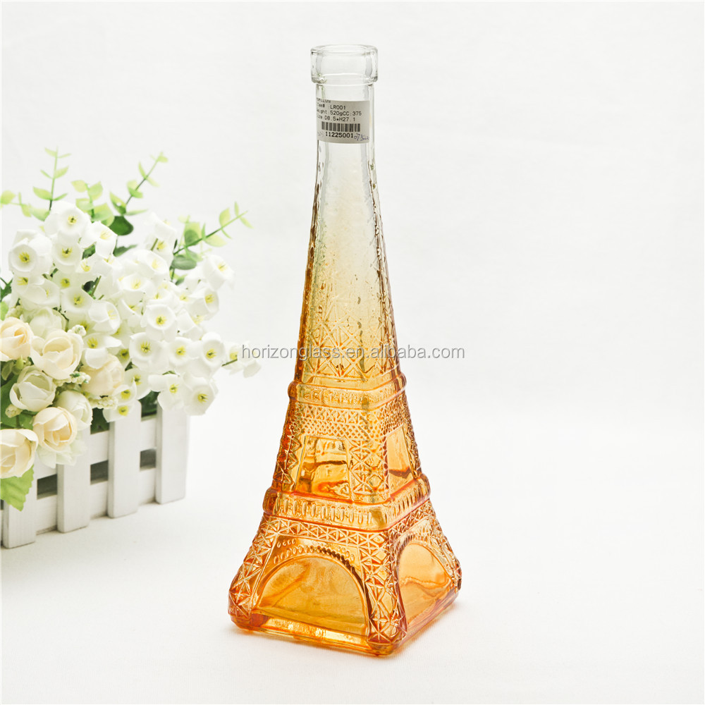 Home decoration art handmade pressrd vase amber 10'' tall glass eiffel tower vase souvenir