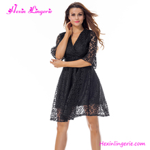 Wholesale Fashion Black Lace V Neck Knee Length Sexy Ladies Night Dress