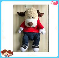 Custom High Quality Soft Dog Shaped Toy Stuffed Plush Backpack Bag Kids School Bag