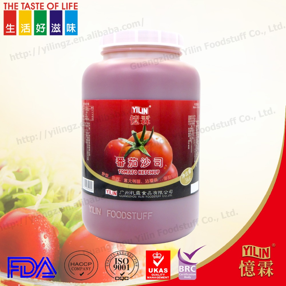 3kg OEM factory branded tomato sauce in bulk pack made in china