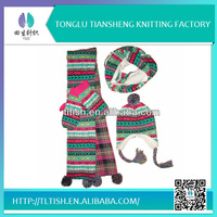 2014 Newest Design Winter knitted Hat Scarf And Glove Sets