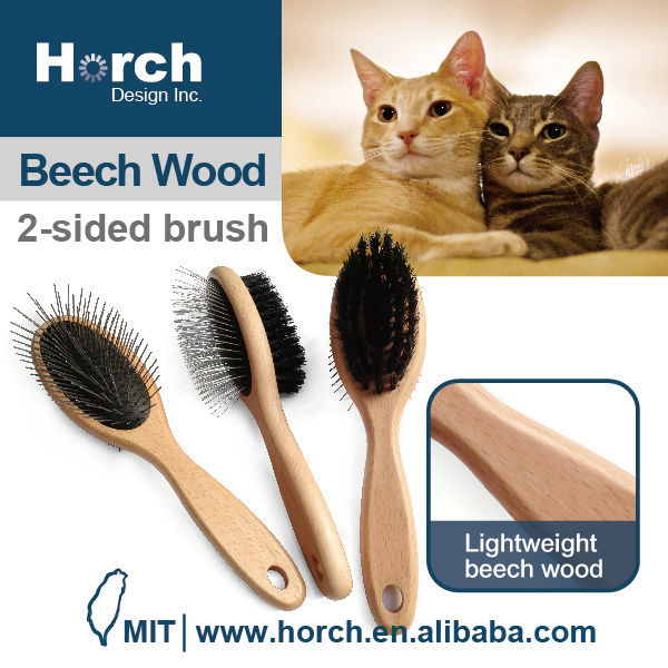 Grooming tool quality wooden handle patented pet and dog pin brush
