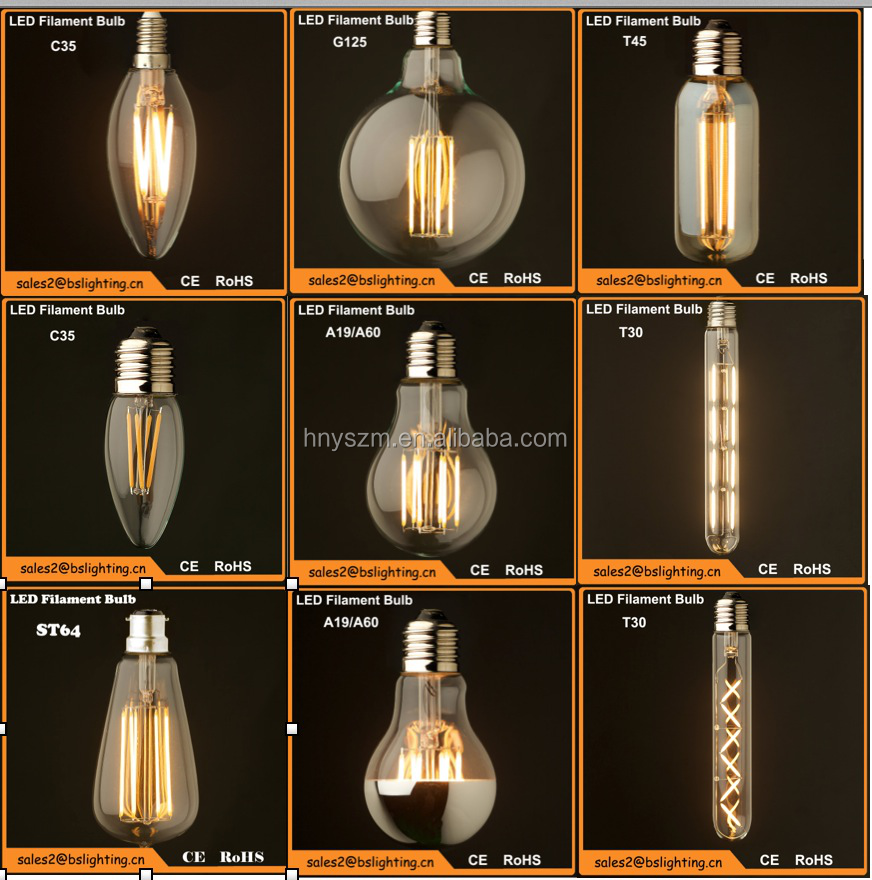 2015 smart lighting 360 degree led light bulbs E27 edison led lamp T30 led filament lamp patriot lighting