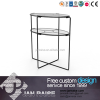 Modern two layer shelves glass coffee table side table