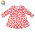 Saint Valentine's Day Heart Prints Girls Dress Names With Pictures Long Sleeve Baby Dresses Girls Wholesale Baby Clothes Dress