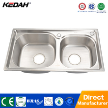 Double Bowl Stainless Steel Undermount Apartment Size Kitchen Sinks with Drainbord