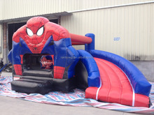 Commercial Inflatable Spiderman Jumping Bouncy Slide With Cartoon,Inflatable Combo