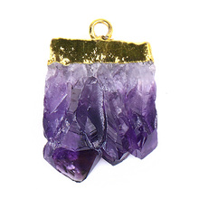 Natural Gemstone Slice Pendants Irregular Druzy Raw Purple Crystal Pendant DIY Jewelry Charm Amethyst Pendant Jewelry Making