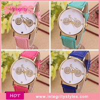 Wholesale Leather Beautiful Printed Cute Bicycle Vintage Watch