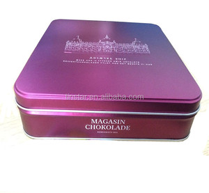 logo embossed chocolate square tin box for food packing