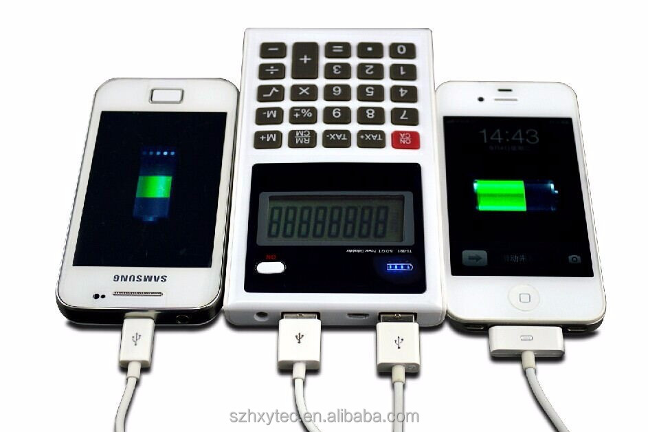 OEM customised Calculater universal portable cell phone charger with calculater 6000 mah