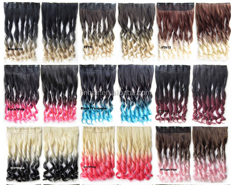 Harajuku color gradient 5 card one piece long curly hair piece wig film Europe and the United States popular wig