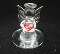 Glass angel with red heart for valentine's Day gift