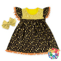 Stylish Baby Cotton Frocks Designs Gold Arrow Print Baby Girl Cotton Dresses Halloween Day Little Girls Party Dresses