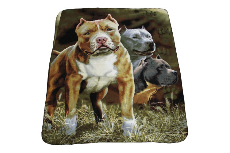 Competitive price high quality super soft lovely pit bulls printed polar fleece throw /roll polar fleece blanket wholesale