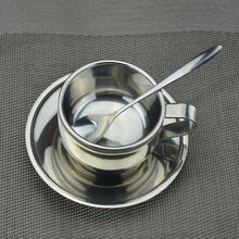 Personality stainless steel coffee cup saucer and spoon set stainless steel double wall coffee mug