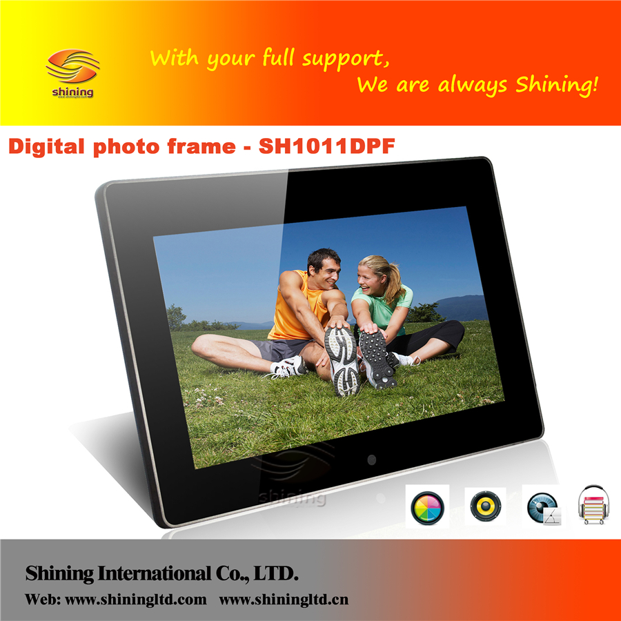 Best selling 10 inch digital photo frame hot sexy mp4 video free download SH1011DPF