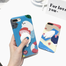 2017 Popular Hand Painting Cat Polar Bear 3D Kneading Squishy Cartoon Custom Design cute Mobil cell phone case