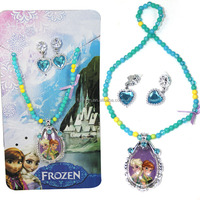 Hot Children Costume Jewelry Sets Frozen Elsa Anna Latest Design Kids Beads Necklace Earrings Set