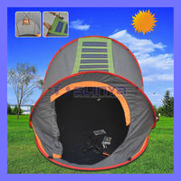Portable Camping Orange Solar Tent For Sale With Solar Power LED Light Fan
