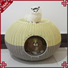 Beautiful mix color PE weaving rattan pet bed cat sofa outdoor dog house for sale