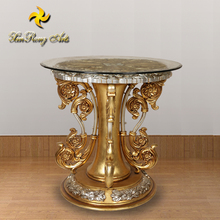 Antique furniture round gold glass coffee table corner table with resin base for home