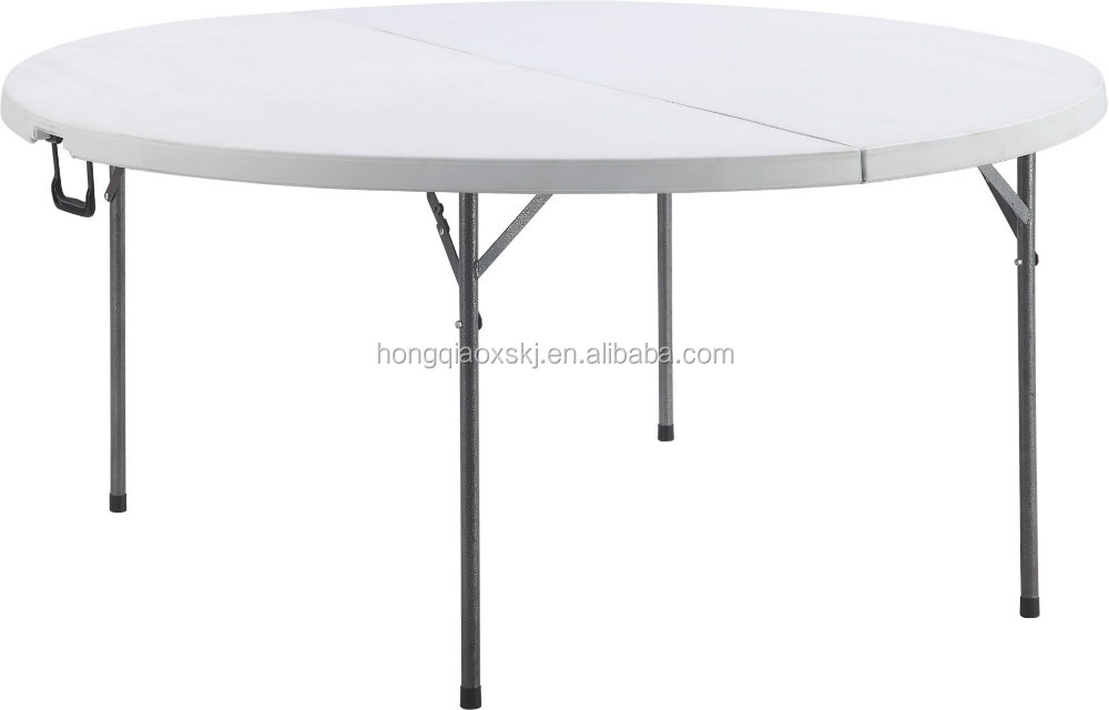 large round banquet dinner table/stackable to store in the cart/blow mold HDPE strong plastic table/6ft fold in half round table