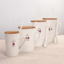 Bamboo cover ceramic coffee mug with spoon