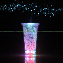 Double Walled Light Up Double Insulated Plastic Cup with Straw