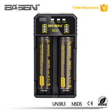 18650 26650 20700 li-ion battery charger Basen BO2 dual slots USB cable 5V/2A battery charger for 18650 26650