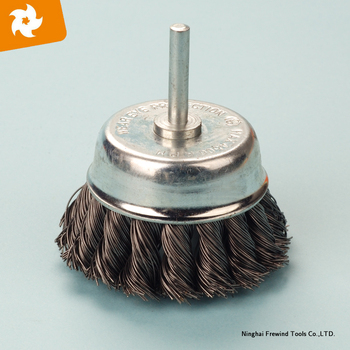 steel knot wire cup brush with shaft, industrial polishing brush