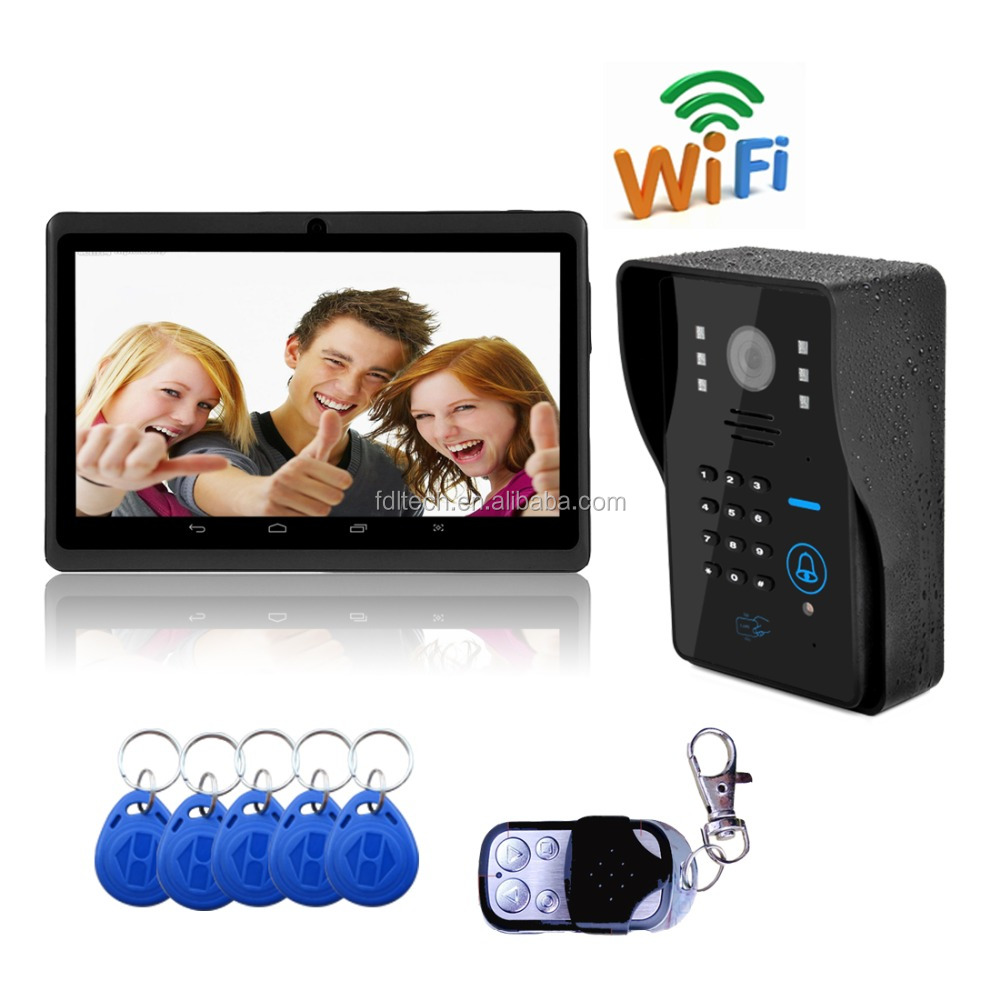 WIFI Video Door Phone Intercom System Door Unlock VideoTake Picture Record Night Vision Waterproof doorbell camera