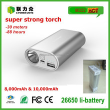 metal 10000mah slimming portable power bank with strong led light