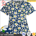 Y-neck Flower printed scrubs uniforms nursing scrubs