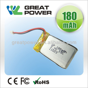 Factory directly selling IEC UN standard 3.7v 180mah lithium polymer battery
