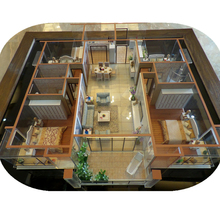 Architectural house model with miniature furniture by scale model maker