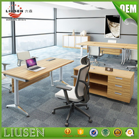 New design cheap space saving l shaped computer desk with filing cabinet