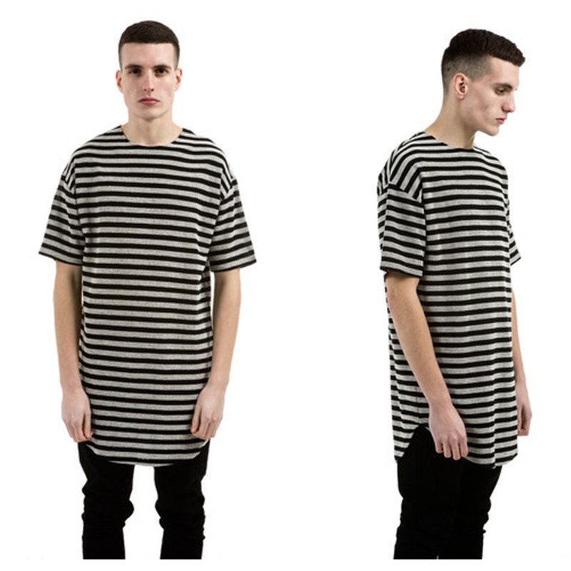 Longline Long Extended Hip Hop T-Shirt Swag Men Stripes Streetwear Tyga Hipster