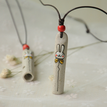 fashion accessory cheap wholesale cute porcelain rabbit shaped handmade whistle pendant