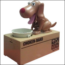 doggie coin bank, plastic dog coin bank, eating dog coin bank