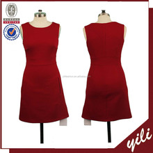 2016 A/W sleeveless red color bodyfit design fashion women formal dress