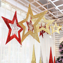 HD1049 Merry Christmas 5-point star store decoration hanging pendants