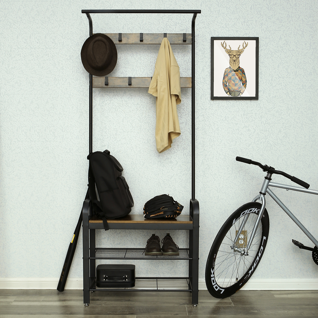 Modern Furniture <strong>Manufacturers</strong> Metal Wood Coat Rack <strong>Shoe</strong> Cabinet Small Coat Rack With Storage