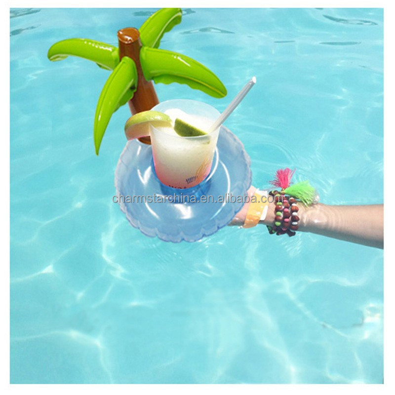 Wholesale In stock duck flamingo palm tree floating drink holder, pool party drink float