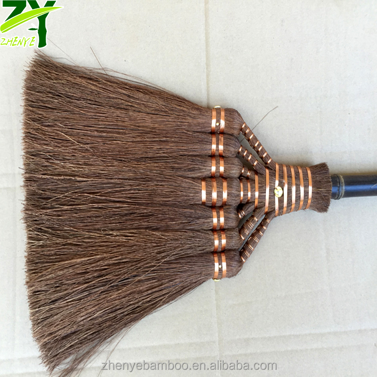 ZY-1720 Broom Palm Fiber Material 100% Natural Palm Fiber Brooms Household Soft Broom for Cleaning