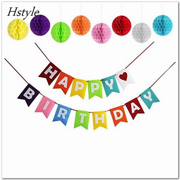Happy Birthday Party Banner Set Including 8 Large Matching Honeycombs Pom Poms Balls SDS013