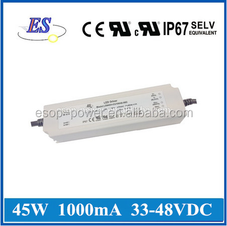 45W 48V 1000mA AC-DC Constant Current/Constant Voltage Waterproof LED Driver Power Supply with CE UL CUL IP67