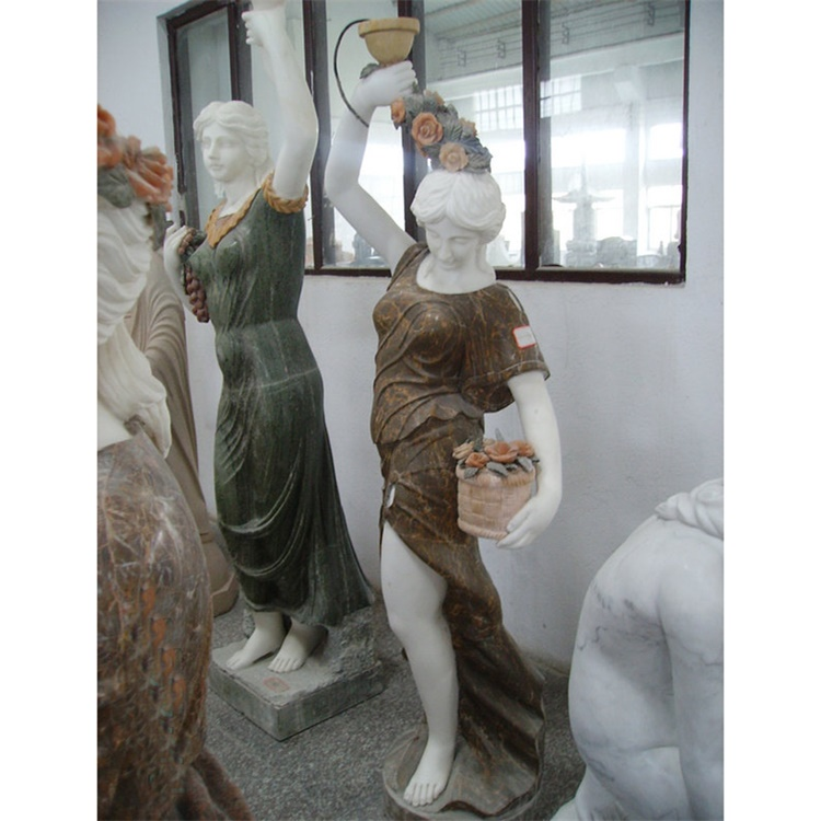 Garden Deco Lady Hold Flower Statue Figure Statue for Sale