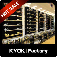 KYOK China Foshan wrought iron curtain rod factory, double curtain pole, fancy curtain finial/curtain brackets manufacturer